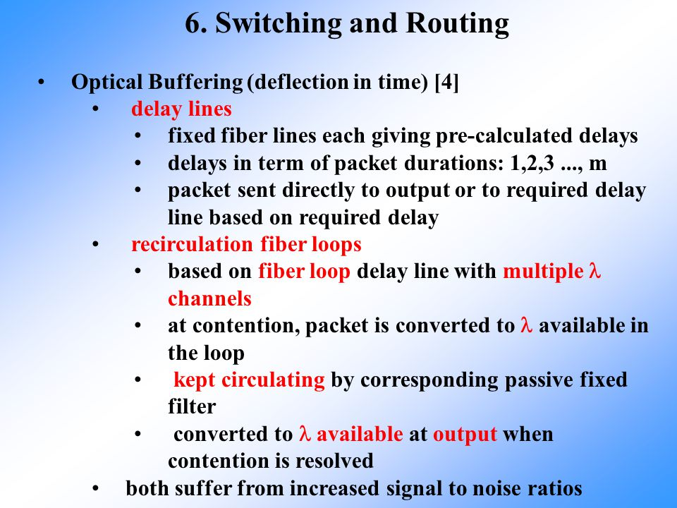 6. Switching and Routing Optical Buffering (deflection in time) [4]